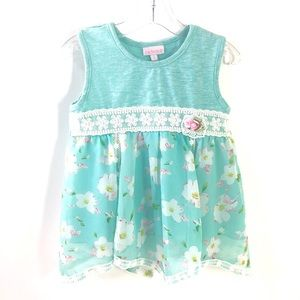 CachCach Girls Size 6 Teal Pink Floral Lace DRESS